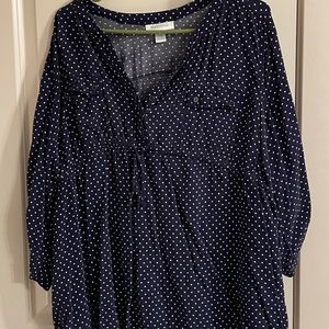 Blue with white polka dot 2x maternity blouse